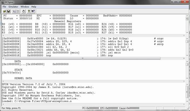 MIPS模拟器-pcspim,MIPS架构CPU模拟软件